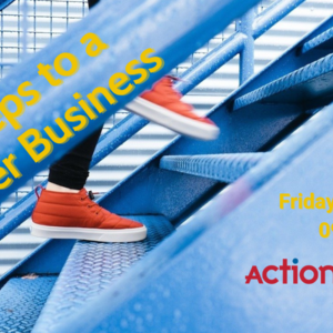 Orange trainers climbing metal stairs in 6 steps to a better business