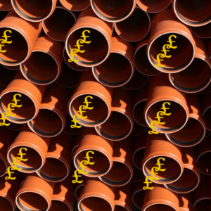 Sales process flowing pounds from a stack of pipes