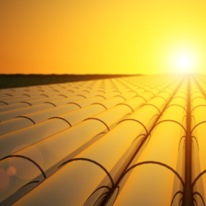 Pipelines with a sunset background
