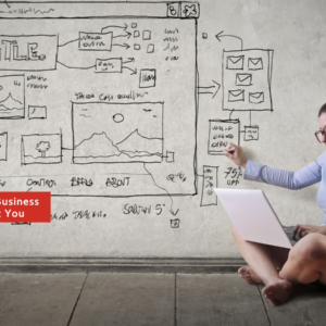 Women with laptop planning her business and personal objectives on a whiteboard
